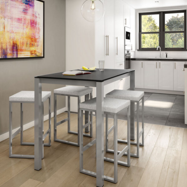 modern backless aaron counter stools in kitchen island setting