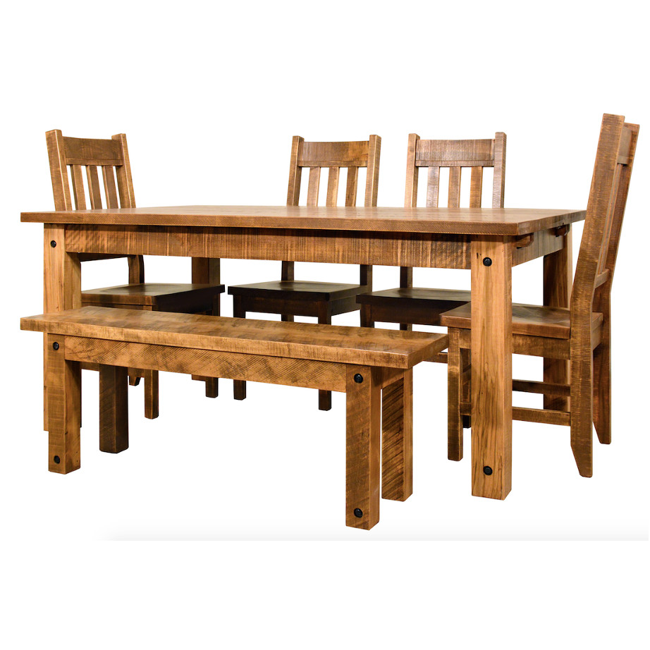 contemporary, distressed, extension table, farmhouse, industrial, leaf, leaves, made in canada, maple, modern, ruff sawn, rustic, solid top, solid wood, Dining Room, Tables, Trestle Tables, rustic wood kitchen furniture, modern kitchen furniture, kitchen furniture, custom built kitchen furniture, Adirondack Table, Adirondack, Table, Adirondack Dining Room