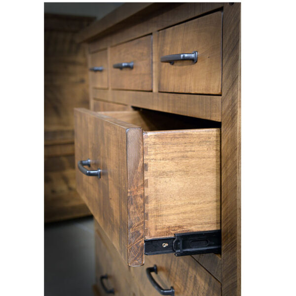 solid wood drawers and full extension glides on adirondack bedroom suite