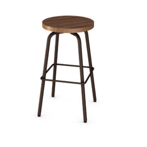 backless button stool with swivel seat and solid wood seat
