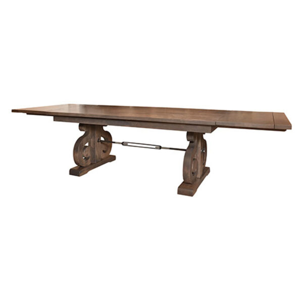 canadian made solid wood courtyard table with leaf end extensions