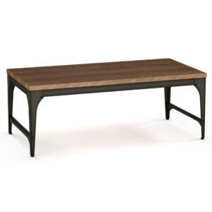 amsico, rustic coffee table, industrial coffee table, solid wood coffee table, metal coffee table, canadian made, solid wood, custom coffee table, elwood coffee table