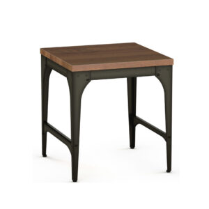 amisco elwood end table with rustic metal and solid wood top