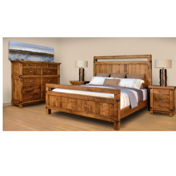 amish built in solid wood galley bedroom shown in bedroom display