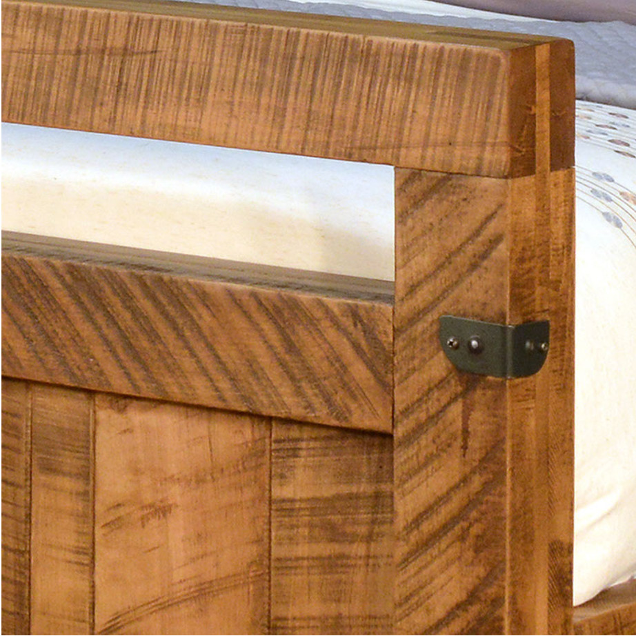 solid wood bed, rustic furniture, made in canada, canadian made, rustic bedroom, queen, king, distressed wood, ruff sawn, galley bed, metal details