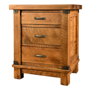 solid wood night stand, rustic furniture, made in canada, canadian made, custom night stand, hand crafted, ruff sawn, distressed wood finish, galley night stand