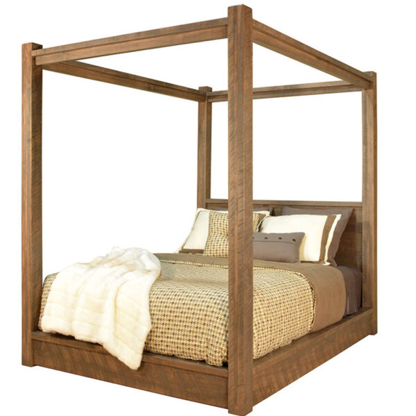 solid wood bed, rustic furniture, made in canada, canadian made, rustic bedroom, queen, king, distressed wood, ruff sawn, greystone bed, poster bed