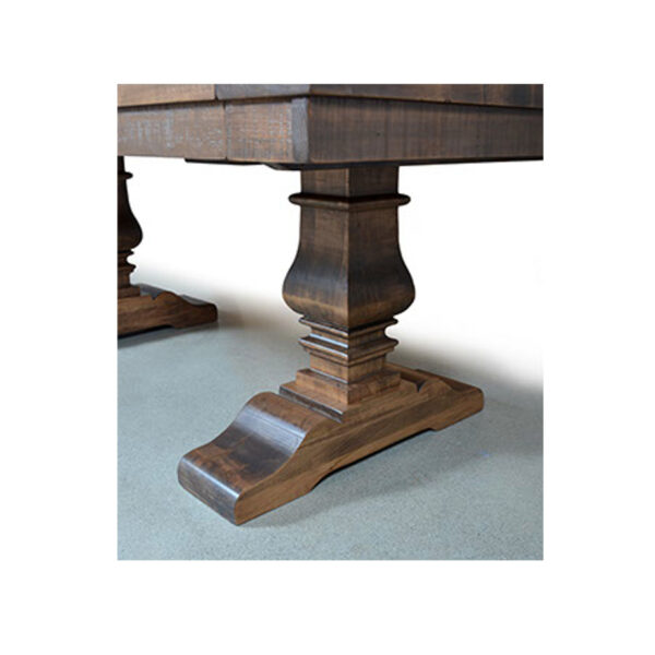 rustic wood detail and amish built quality of the heritage trestle table