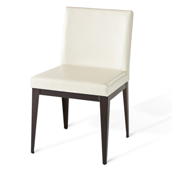 leather fabric option on the pablo parsons chair with metal frame