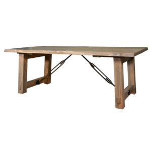 solid rustic wood benchmark table with real live edge top