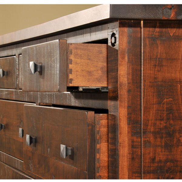dovetailed drawer boxes shown on the custom made muskoka bedroom
