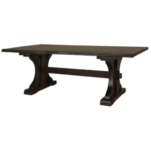 rustic Carlisle live edge table, ruff sawn, custom dining table, rustic table, solid wood table, Canadian made table, farmhouse table, distressed table, traditional base, live edge