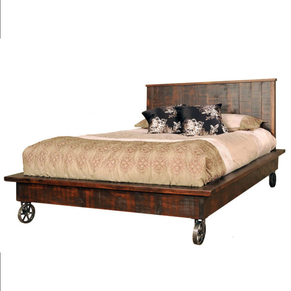 canadian made steam punk bed with platform base shown in solid rustic wood