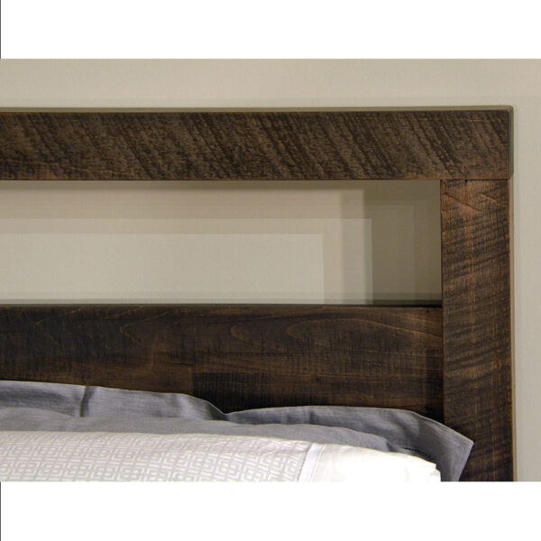 close up of amish made tempus bed with ruff sawn finishing