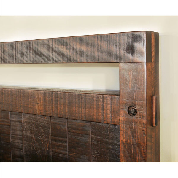 distressed solid wood detail of the timber bedroom suite