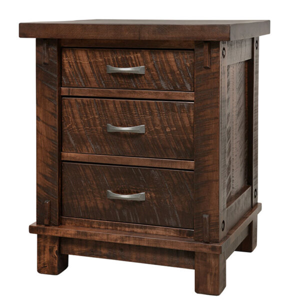 amish built timber night stand in solid wood
