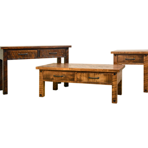 solid rustic wood adirondack occasional tables in grouping