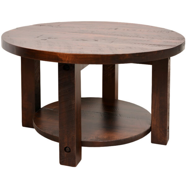 coffee table, solid wood, rustic maple, ruff sawn, modern, urban, contemporary, adirondack round coffee table