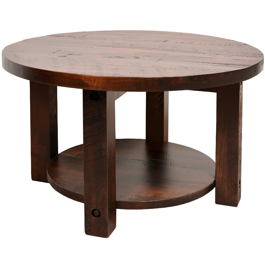 Solid Wood Curved Coffee Table: Adirondack Round Coffee Table