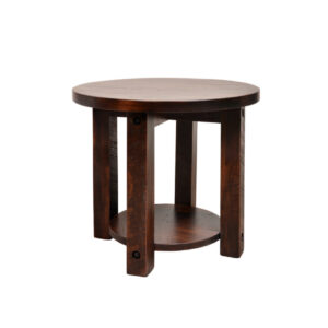 solid rustic wood adirondack round end table with shelf in rustic maple