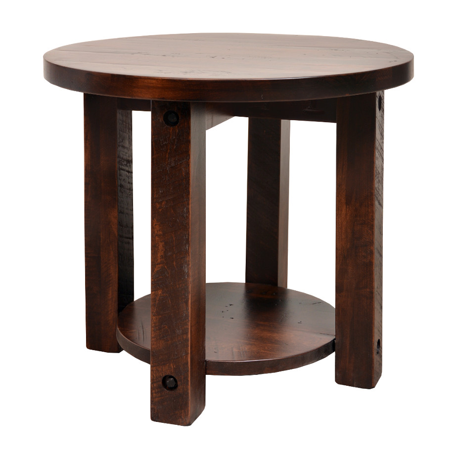 rustic round end table. Adirondack Round End Table Rustic