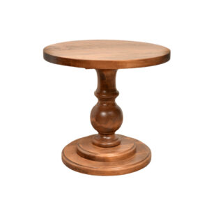rustic wood arta end table with round top and traditional base
