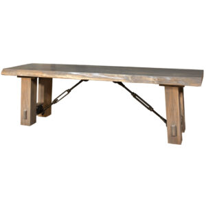 custom built benchmark live edge bench with solid wood seat