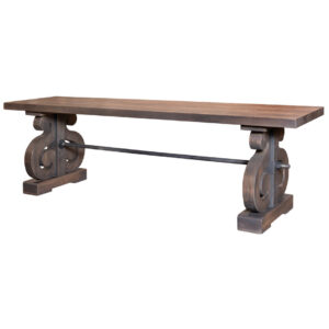 amish built courtyard bench in solid rustic wood finish