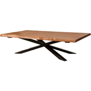 coffee table, solid wood, rustic maple, ruff sawn, modern, urban, contemporary, live edge, metal base, hedgehog live edge coffee table