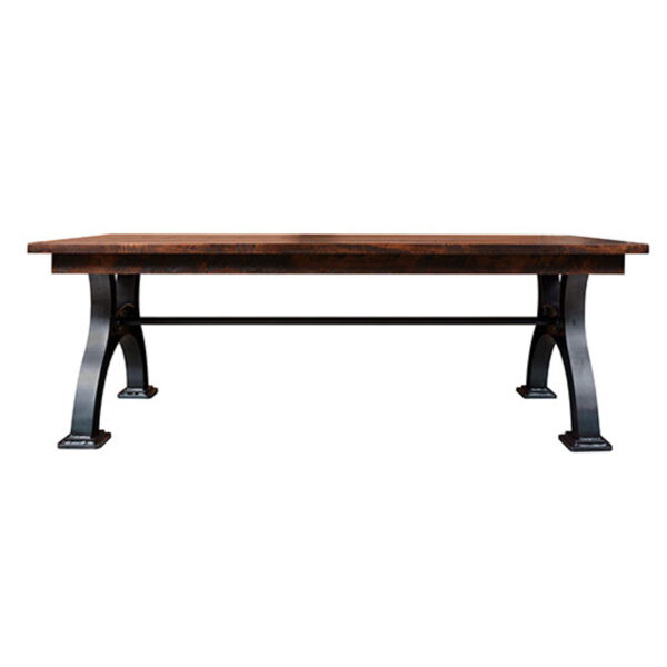 canadian made industrial table with solid rustic wood top