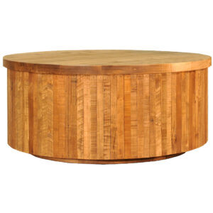 round ledge rock coffee table shown in solid rustic wood