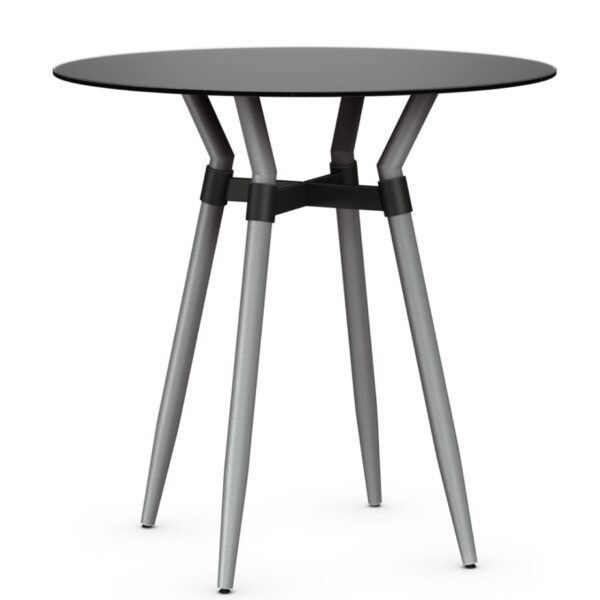 link pub table with modern black glass top
