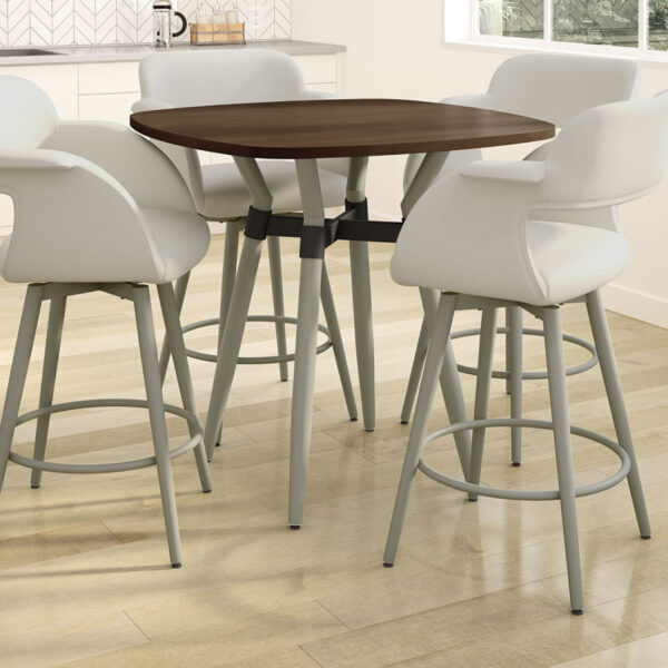 Solid Wood Link Pub Table in Kitchen Setting with Counter Stools