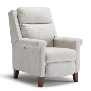 custom built prima recliner with power recline buttons in modern custom fabric