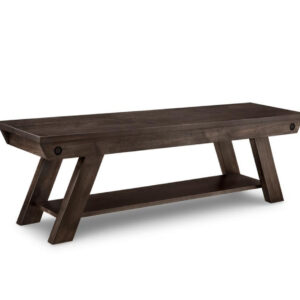 solid rustic wood algoma bench with wood seat for dining table