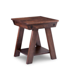 solid wood algoma end table with rustic, distressed finish