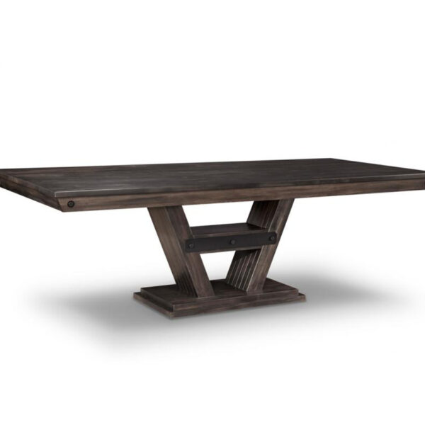 solid rustic wood algoma trestle table with farmhouse metal accents