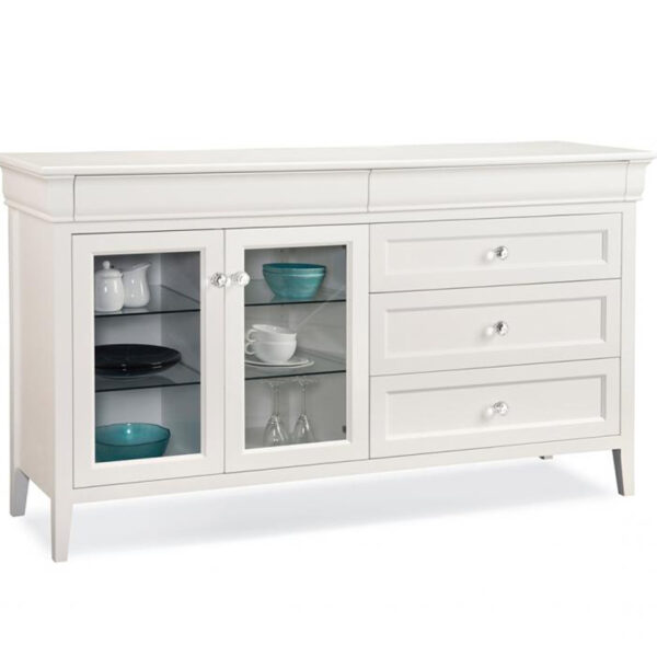 white finish, solid wood monticello sideboard with glass doors
