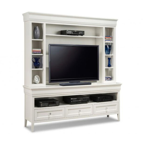 traditional, solid wood monticello wall unit in custom size with painted white finish
