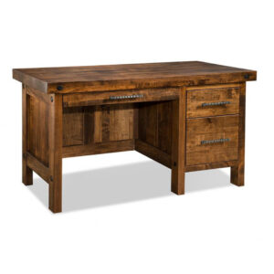 solid rustic maple rafters single desk shown in nutmeg finish