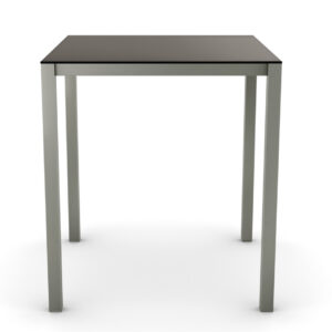 black glass top carbon pub table with metal legs
