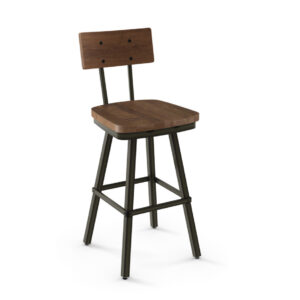 rustic wood jetson swivel stool with wood seat