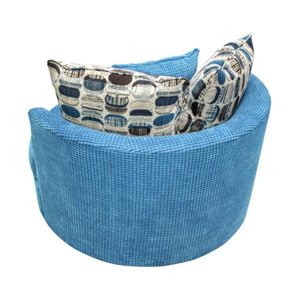 back profile of swivel base lennox cuddle chair