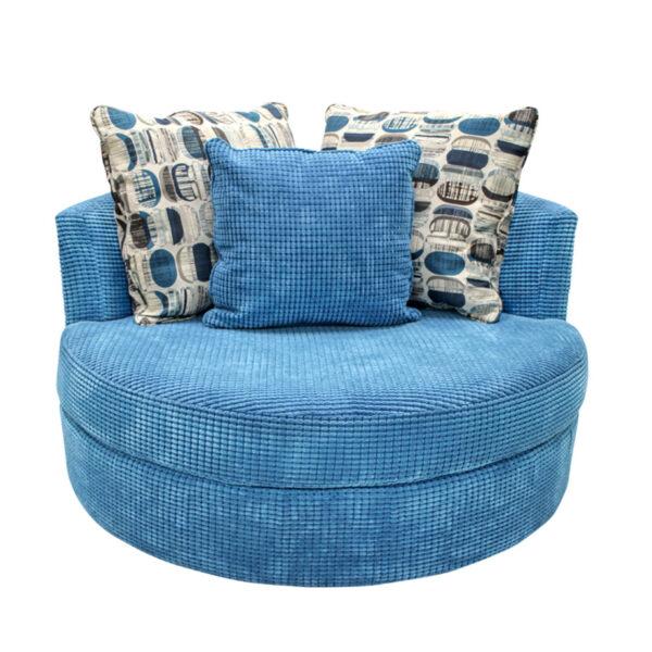 swivel base on the lennox cuddle chair with custom toss pillows