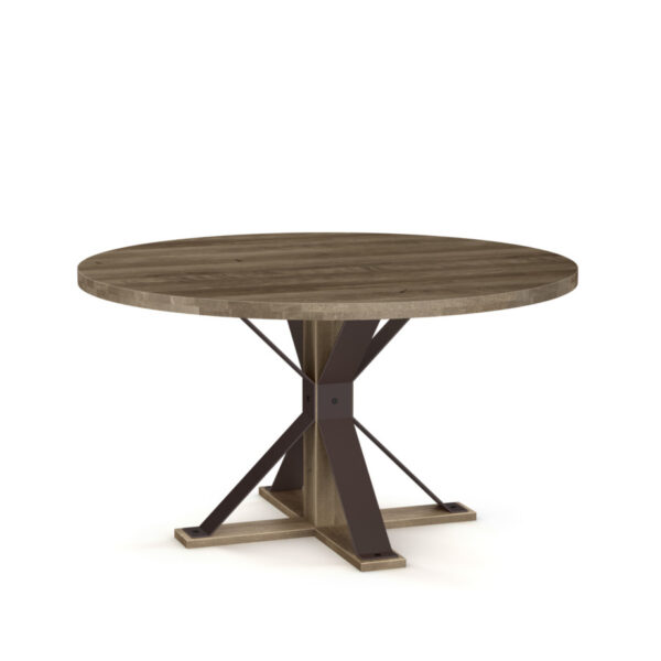 round table, rustic wood table, made in canada, amisco, custom table, industrial table, martina dining table