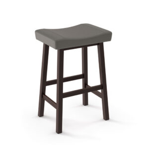 miller saddle stool with leather look fabric seat