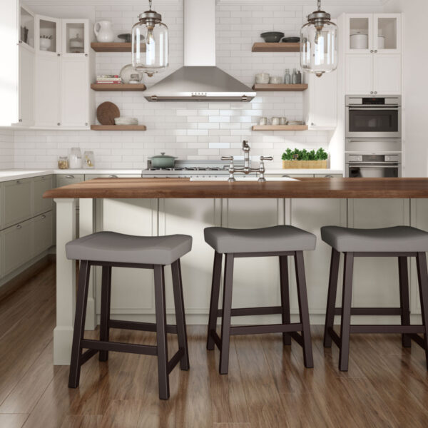 modern miller saddle stool at counter island in kitchen