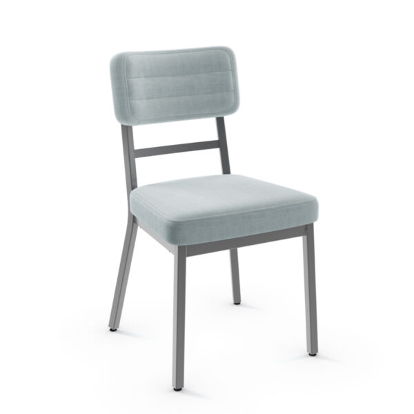 modern phoebe dining chair in custom fabric with metal frame