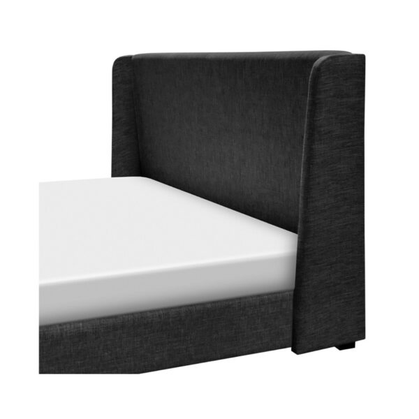 side detail of abbu upholstered bed in king size base
