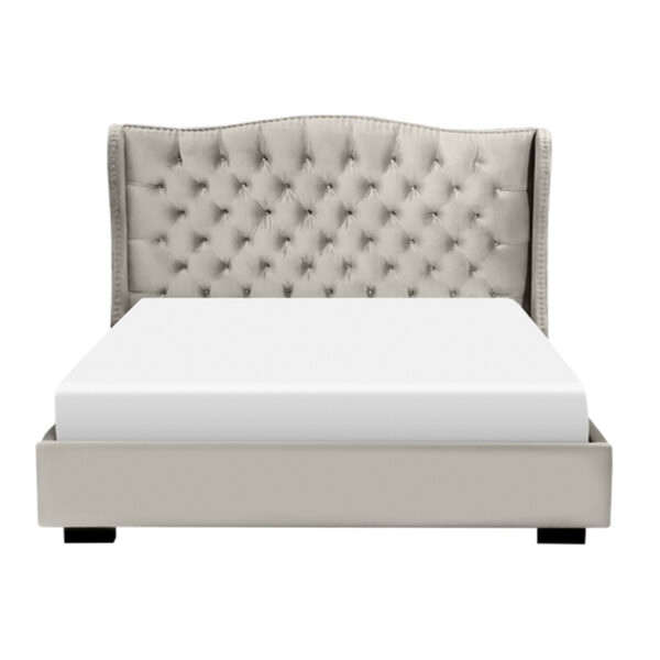 custom built catalina upholstered bed with platform base shown from headboard angle